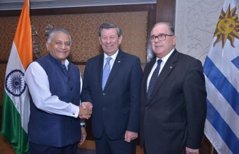 Left : Gen. Retd. V. K. Singh, Minister of State for External Affairs with the Minister of Foreign Affairs of Uruguay, Mr. Rodolfo Nin Novoa and H.E. Mr. Carlos Orlando, Ambassador of Uruguay to India