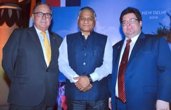 (L-R) Ambassador of Uruguay, H.E. Mr. Carlos Orlando (Centre) H.E. Mr. V.K. Singh, Minister of State for External Affairs and H.E. Mr. Frank Hans Dannenberg, Ambassador of Dominican Republic (R-L) during one Dipomatic meeting