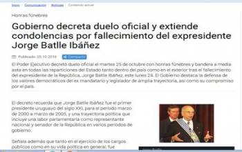 Government decrees official mourning and extends condolences on death of former President Jorge Batlle Ibanez