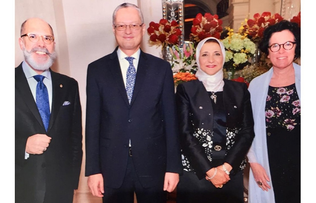 Left-Ambassador Alvaro Malmierca with Ambassador of Egypt, H.E. Mr. Hatem Elsayed Mohamed Tageldin with his wife and Mrs. Mariana Wainstein.