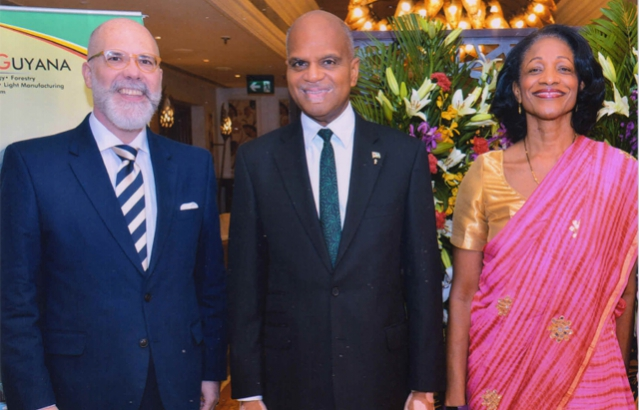H.E. Mr. Alvaro A. Malmierca with The High Commissioner H.E.Dr. David Pollard and Dr. Annabele Pollard at On the occasion of the 53rd Independence Anniversary of the Cooperative Republic of Guyana.