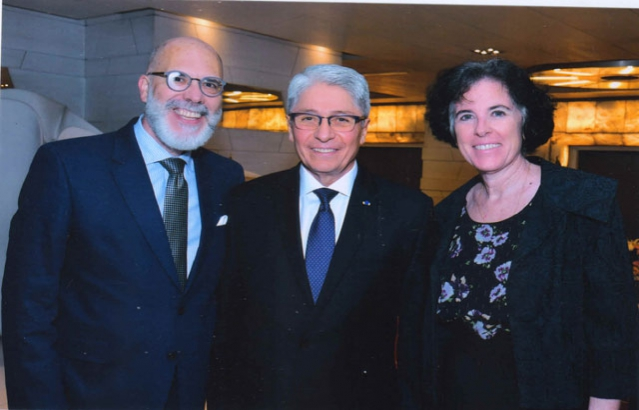 H.E. Carlos R. Polo, Ambassador of Peru (Center) with the H.E. Alvaro A. Malmierca, Ambassador of Uruguay (Left) and Spouse Mrs. Mariana Wainstein (Right).